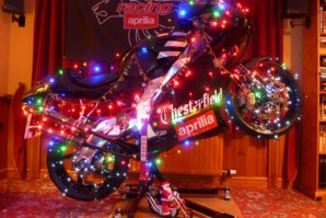 RS250 Aprilia on abba Sky Lift with Xmas decorations!