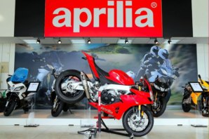 Aprilia RSV4 on abba Sky Lift (stoppie position)
