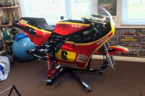 Steve Parish's Suzuki race bike being stripped down on abba Sky Lift