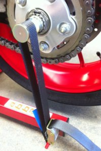 Strap shown fitted around optional Hub Spindle for single sided Swing-Arm machines