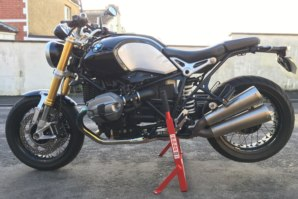BMW R nineT on abba paddock stand lift (left side)